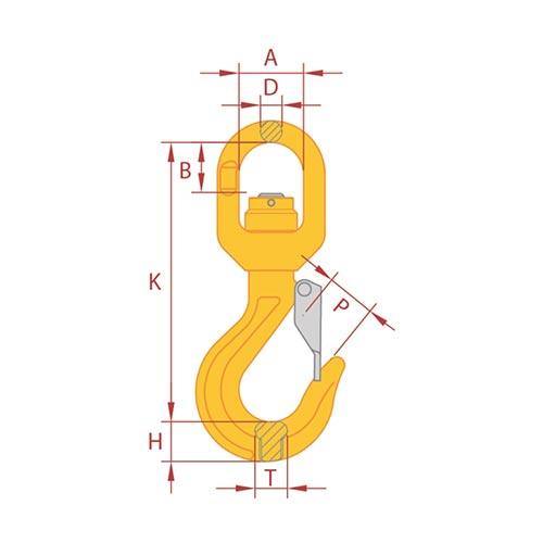 Gr8 Swivel Hook with Latch Ball Bearing Type